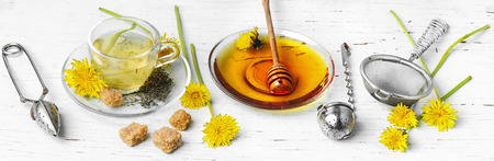 drizzler: long banner with medicinal tea with honey dandelion