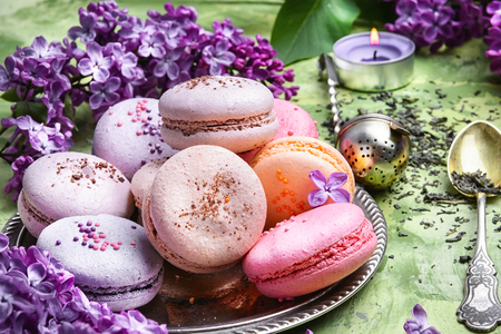 macarons cake and branch of springtime lilac blossoms