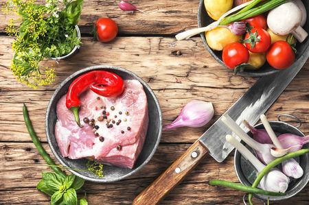 Raw sirloin pork meat Stock Photo