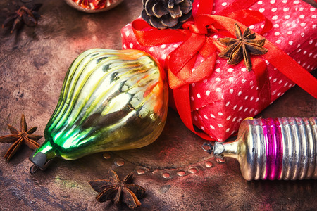 Christmas gift box and old-fashioned glass soviet christmas ornament Stock Photo