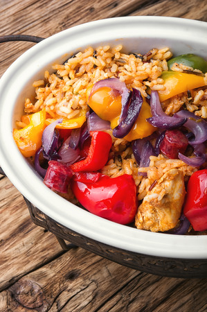 creole: Creole dish based on rice.Jambalaya with chicken and sausage with hot spices