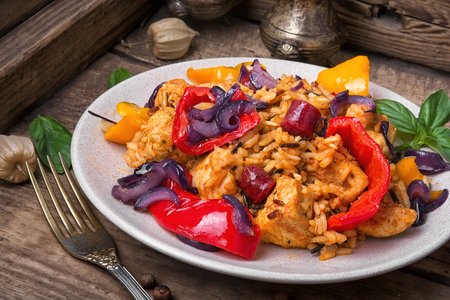 Creole Jambalaya spicy rice with meat and vegetables