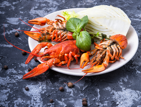 tasty seafood shellfish served on the plate