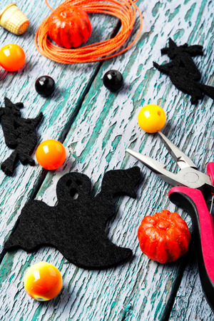 Beads and costume jewelery for the manufacture of women jewelry in the style of Halloween Stock Photo