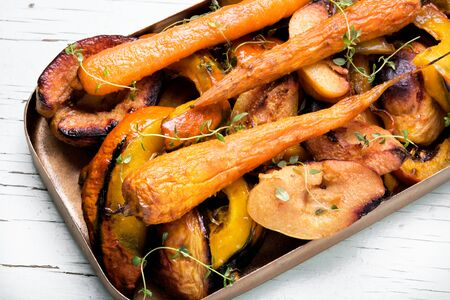 membrillo: vegetarian dish with baked carrot, pumpkin and quince