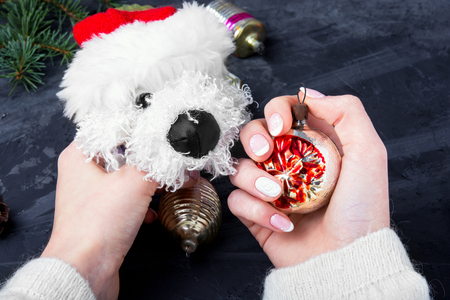 symbolic puppy of dog in Christmas decorations in hand