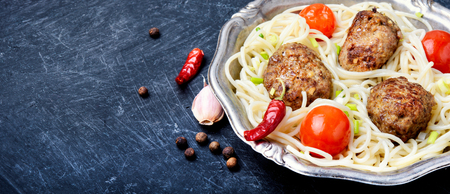 Meat cutlets and pasta for garnish.Ukrainian popular food. Stock Photo