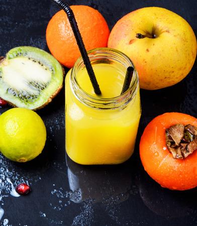 Freshly squeezed multvitamin juice. Fitnes drinks. Healthy lifestyle