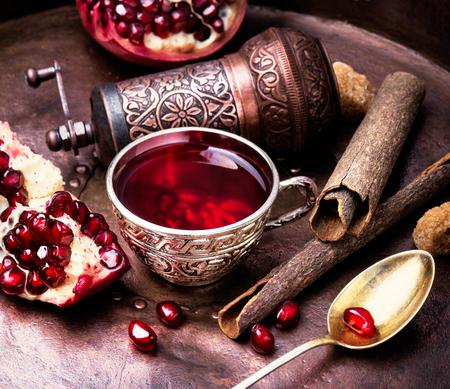 turkish winter tasty tea with pomegranate seeds