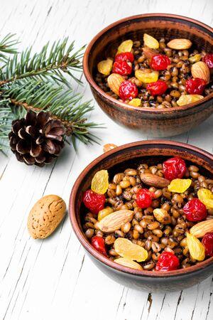 national Russian Christmas dish, a porridge with raisins and almonds, kutya