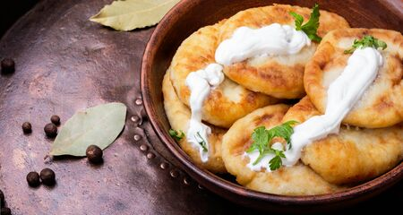 potato homemade zrazy with sour cream on rustic recipe