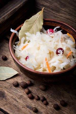 sauerkraut with carrots and spices in a bowl