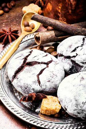 Chocolate homemade cookies with cracks to coffee Stock Photo