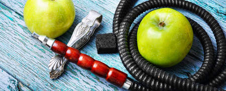 Glamour east hookah with taste green apple.Apple shisha Stock Photo
