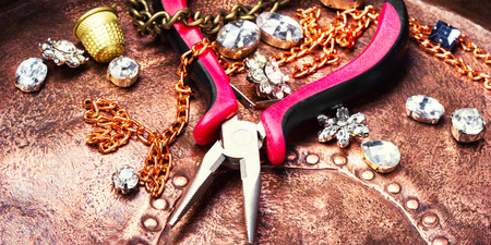 Precious stones for jewelry and tools for making jewelry.Jewelry making accessories
