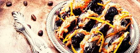 Desserts of Moldovan cuisine,prunes stuffed with nuts Reklamní fotografie