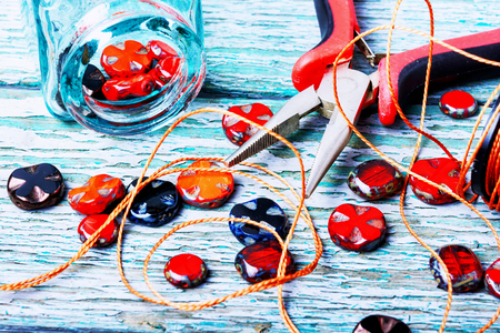 Beads, colorful beads and tools for needlework.Czech glass beads Foto de archivo