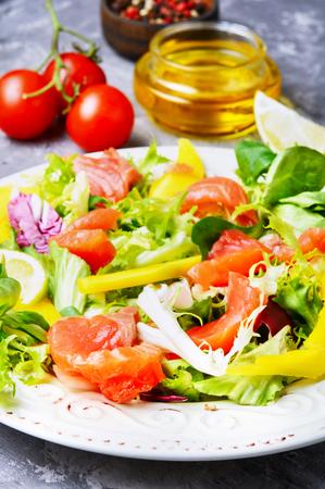 Salad with salmon,mango and fresh lettuce Stock Photo