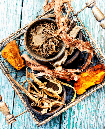 Basket with roots and rhizomes for medicinal purposes