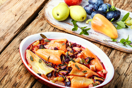 Dietary dish pepper stuffed with fruit. Healthy food.