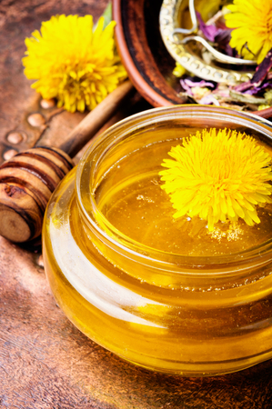 Honey from blossoming spring dandelions, as a medicine