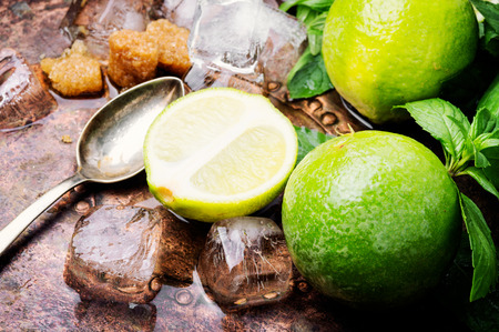 Mojito ingredients. Lime, mint and cane suga