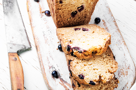 Loafes of fresh baked bread with black currant berries.Ireland bread Stock Photo