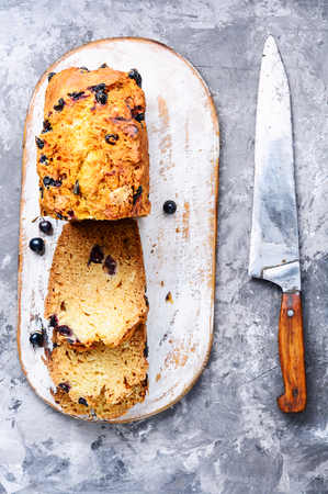 Loafes of fresh baked bread with black currant berries.Ireland bread Stockfoto