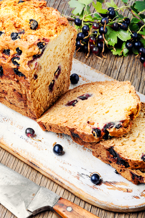 Ireland soda bread with black currant berries