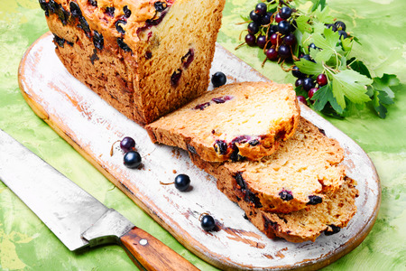 Ireland soda bread with black currant berries.Food concept