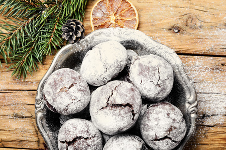 Homemade cookies with cracks for a Christmas holiday.Holiday Food Stok Fotoğraf