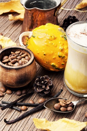 Pumpkin spice coffee with whipped cream.Autumn coffee.Coffee drink Stock Photo