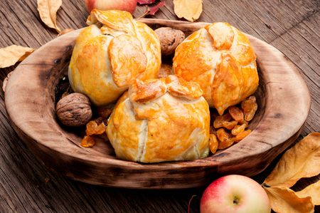 Autumn apples baked in dough. Autumn dessert.National dish of Czech and Slovak cuisine 版權商用圖片
