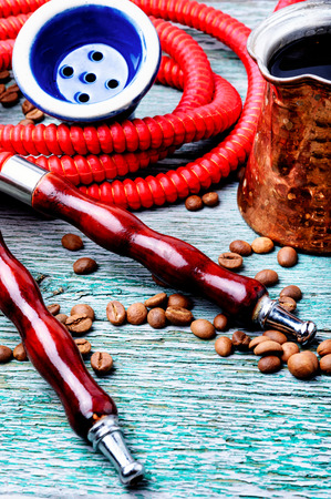 Oriental shisha hookah with aroma coffee for relax. Stock Photo