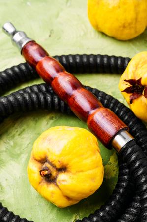 Oriental shisha hookah with flavor quince for relax. Quince shisha.Autumn shisha menu
