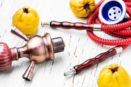 Arabian shisha hookah with flavor quince.Quince shisha.Autumn shisha menu