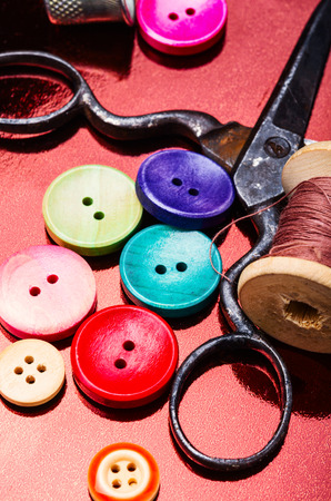 Bright assorted sewing buttons in mix colors