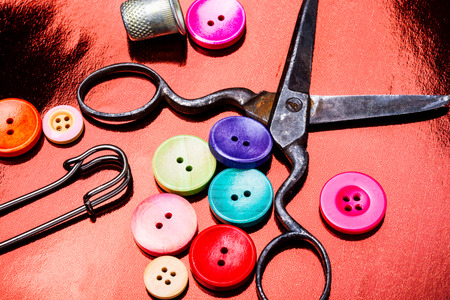 Sewing Accessories.Assorted sewing buttons in mix colors