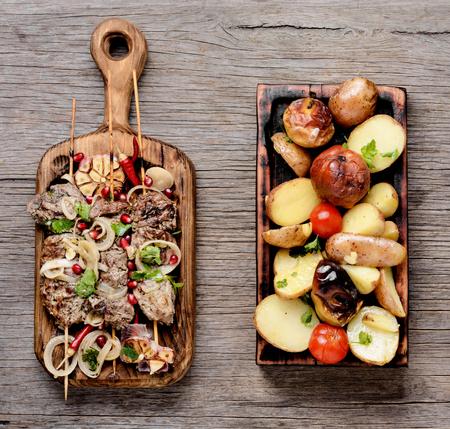 Beef shish kebab.Bbq meat on wooden skewers.Eastern food Stock Photo