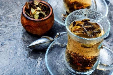 Cup of healthy herbal tea.Cowberry leaf tea