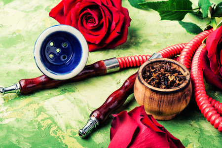 East hookah with flower aroma for relax. Stock Photo