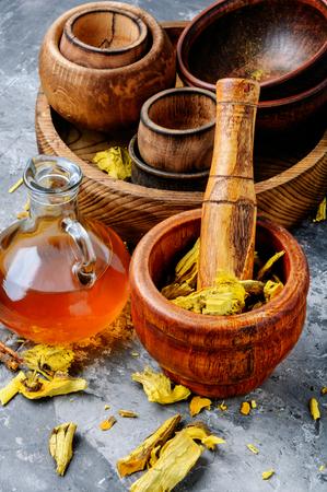 Barberry root. Dried herbs for use in alternative medicine. Archivio Fotografico