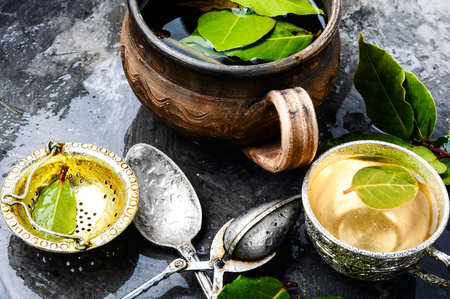 Delicious tea with bay leaf.Herbal tea with bay leaf