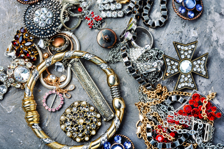 Mix of beautiful jewellery.Collection of bijouterie.Fashion jewels