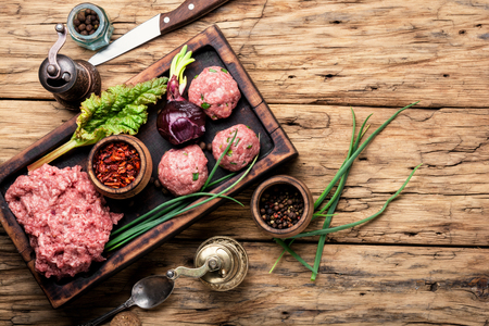 Raw minced meat with spices.Ground meat with ingredients for cooking Stockfoto