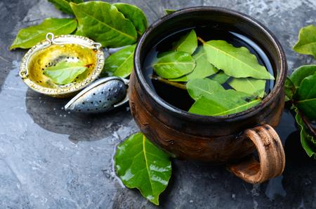 Herbal tea with bay leaf.Brewed delicious herbal tea