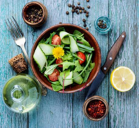 Fresh salad with mixed greens.