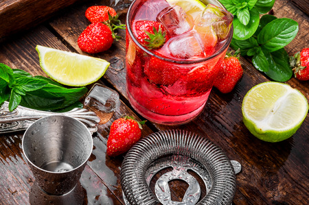 Drink with ice, mint leaves and strawberry.Summer drink