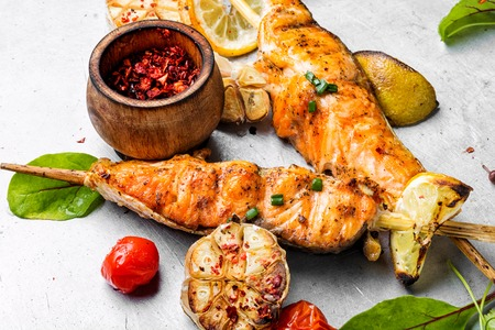 Grilled salmon with herb and lemon.Salmon roast steak