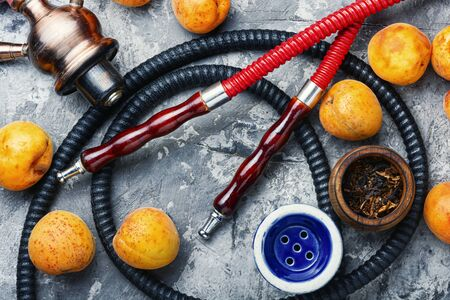 Hookah mouthpiece.Fruit shisha aroma.Tabak with apricot flavor.Kalian smoking with apricot
